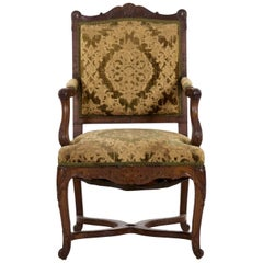 French Rococo Revival Carved Walnut Antique Armchair, 19th Century