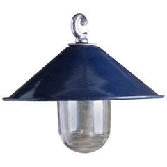 Small Dark Blue Enamel Pendant Lights