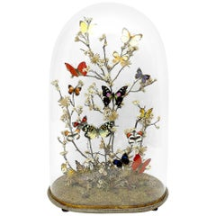 Gorgeous Diorama with Butterflies and Flowers, Italy, circa 1880