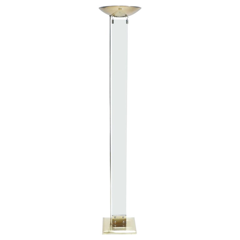 Italian Brass and Glass Floor Lamp, 1970s
