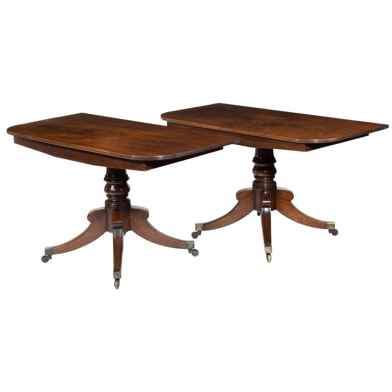 Pair Of Mahogany Console Tables Which Convert Into A Twin Pillar Dining Table For
