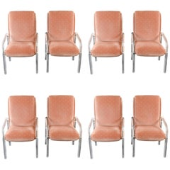 Set of Eight Lucite and Upholstered Midcentury Dining Armchairs