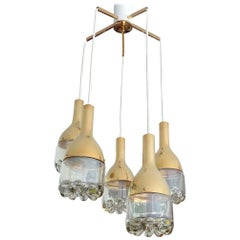 Large Midcentury Hillebrand  Five Lights Cascade Glass Brass Chandelier , 1960s