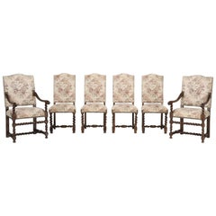 Antique French Barley Twist Dining Chairs, Set of Six in as Found Condition