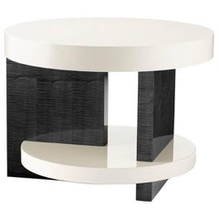 'The Bronson' a Modern Occasional Table in Sycamore Black and White Lacquer