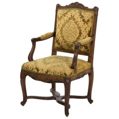 Antique French Louis XV Armchair Fauteuil, circa 19th Century