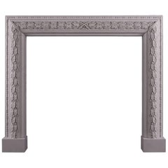 Elegant Carved Bolection Fireplace in Limestone
