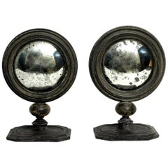 Pair of Wunderkammer Convex Round Table Mirrors, Italy, circa 1880