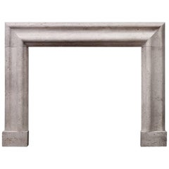 Large English Moulded Bolection Fireplace in White Travertine