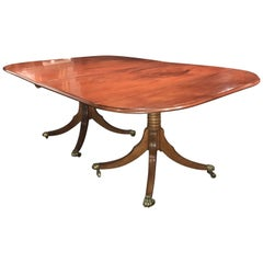 19th Century Double Pedestal Mahogany Dining Table with Downswept Legs