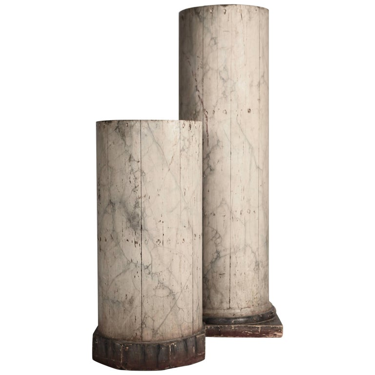 Pair of Large North Italian Marbled Wood Columns 19th Century For Sale