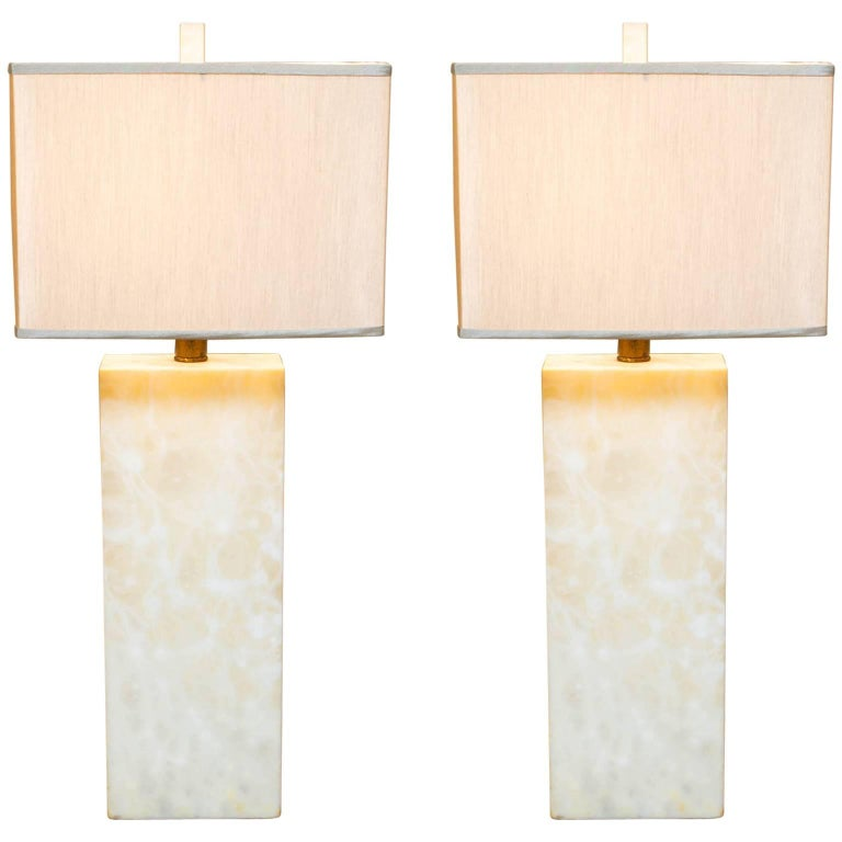 Pair of Nessen Studio Marble Table Lamps