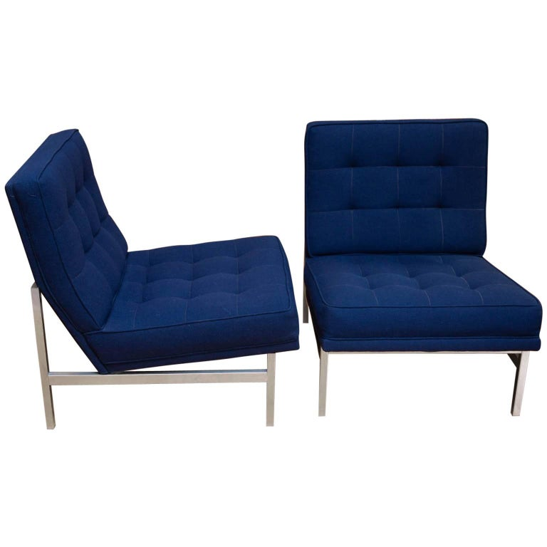 Pair of Florence Knoll Parallel Bar Slipper Chairs
