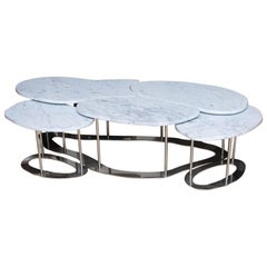 Handmade Carrara Marble and Stainless Steel Coffee Table by Gregory Clark