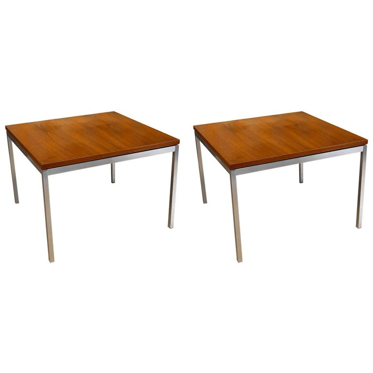 Pair of Florence Knoll Walnut End Tables