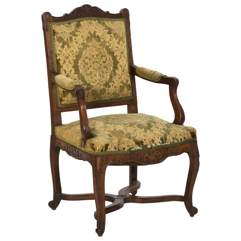 19th Century Antique French Rococo Revival Carved Walnut Armchair