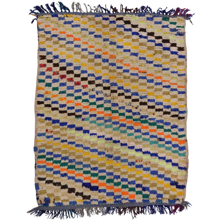 Vintage Berber Moroccan Rug with Diagonal Checkered Pattern