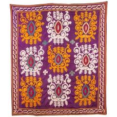 Early 20th Century Antique Uzbek Silk Suzani