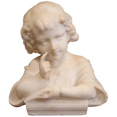 "19th Century French White Marble Bust of Young Child ""Learning the Alphabet"""