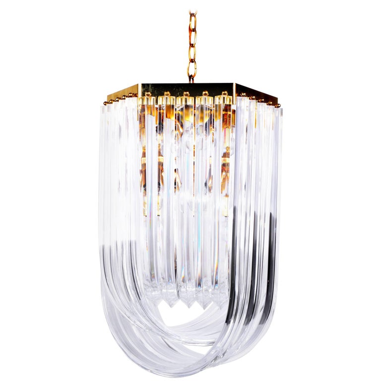 Lucite Ribbon Chandelier with Canopy
