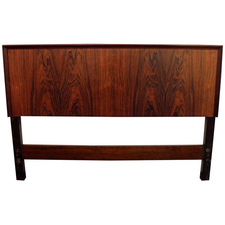 Midcentury Swedish Modern Seffle Rosewood Full Size Headboard