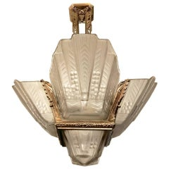 Beautiful French Art Deco Geometric Chandelier Signed By EJG