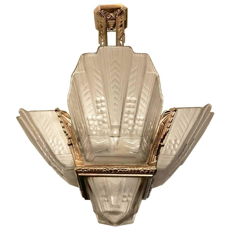 Beautiful French Art Deco Geometric Chandelier Signed by E.J.G