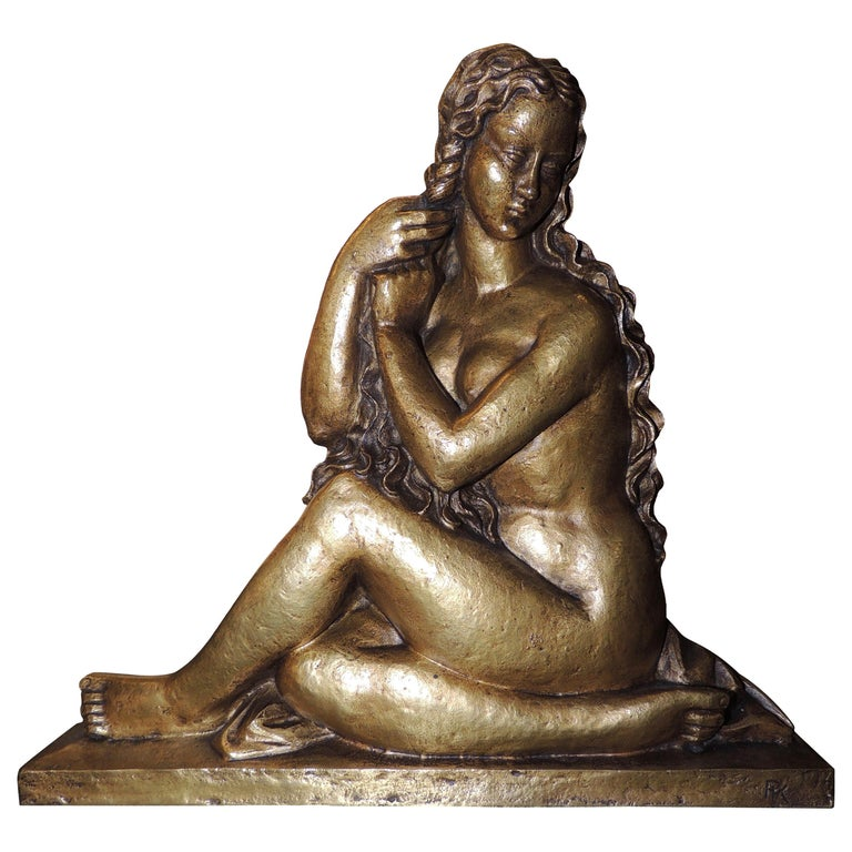 Art Deco Golden Girl in Bronze Sculpture with Stylized Curls Statue