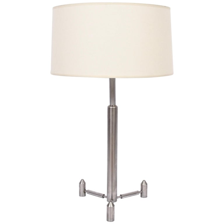 Tall Studio Machinist Brushed Steel Rocket Table Lamp, 1950s