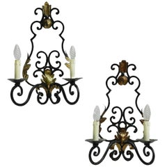 Pair of Art Deco Sconces French Wall Lights Wrought Iron Appliques, circa 1930