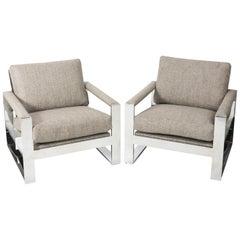 Pair of Milo Baughman Cube Chairs, circa 1970s