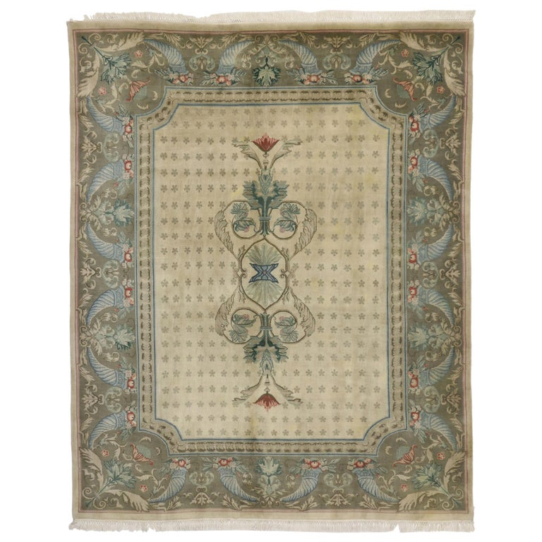 Vintage Indian Area Rug With Traditional European Cottage