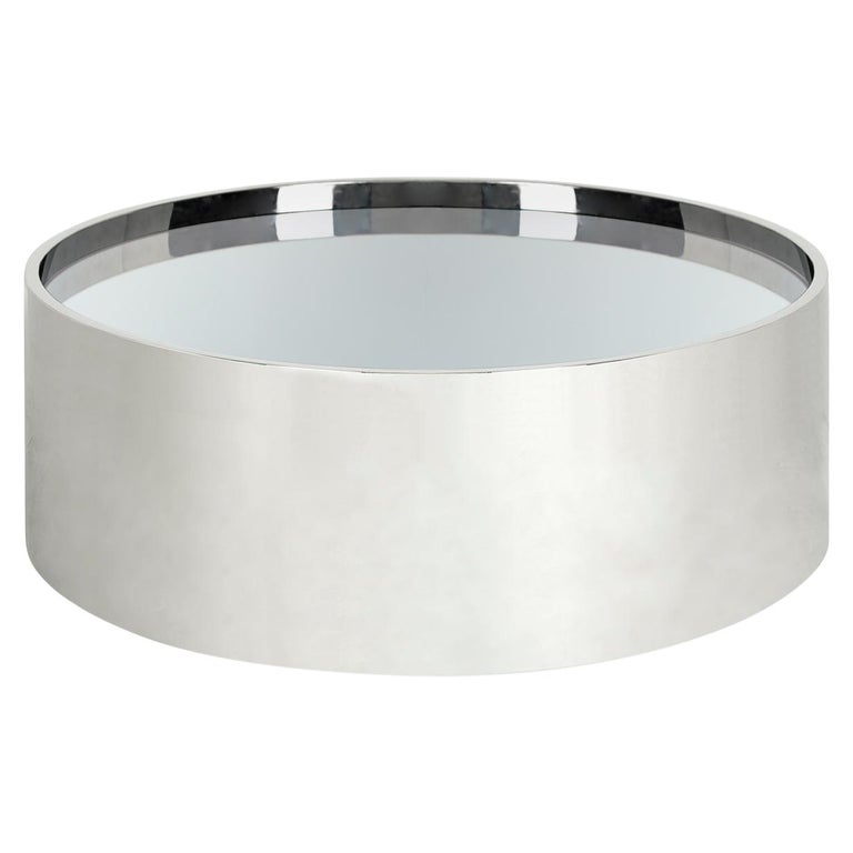 Alphaville Polished Stainless Steel Cocktail Table For Sale