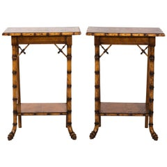 French Eastlake Style Bird's-Eye Maple Side Tables, circa 1890