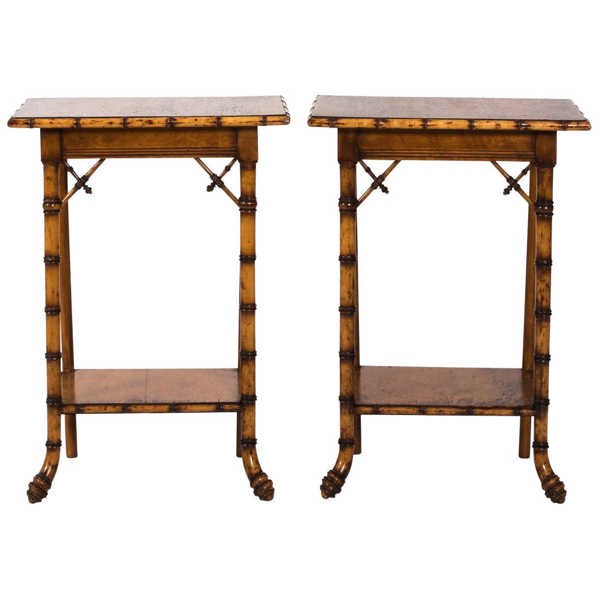 French Eastlake Style Birdu0027s Eye Maple Side Tables, Circa 1890