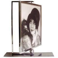 Large English Art Deco Chrome Geometric Swivel Table Frame
