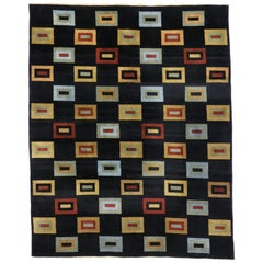 Vintage Tibetan Area Rug with Contemporary Art Deco Style and Cubism Art Design