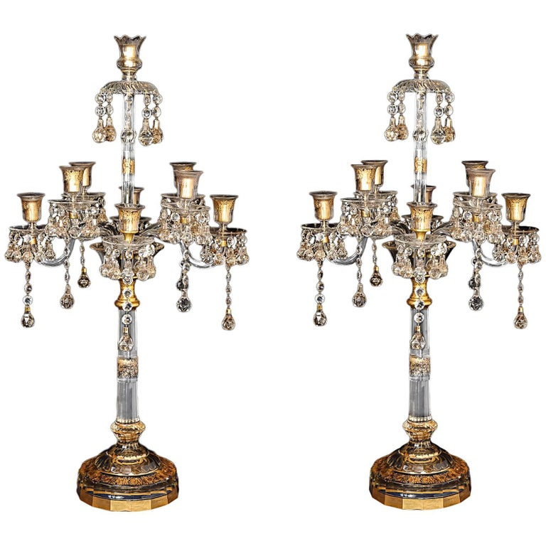 Pair of French Antique Louis XVI Style Crystal Candelabras Baccarat Attributed