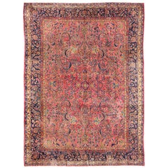 Antique Persian Fine Kashan Rug with All-Over Arabesque Design in Red