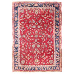 All-Over Floral Design Antique Indian Sarouk Rug in Red and Blue Tones