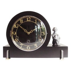 English Art Deco Black Lacquer with Chrome and Bakelite Figural Mantel Clock