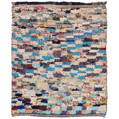 Midcentury Moroccan Rug with Colorful Checkerboard Design