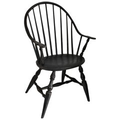 18th Century Black Painted Extended Arm Windsor Chair