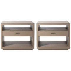 Pair of Leather Nightstands