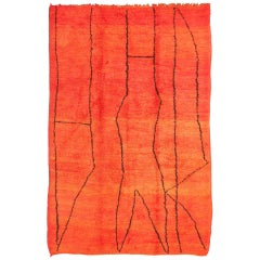Vintage Moroccan Rug with Red and Orange Background and Charcoal Line Design