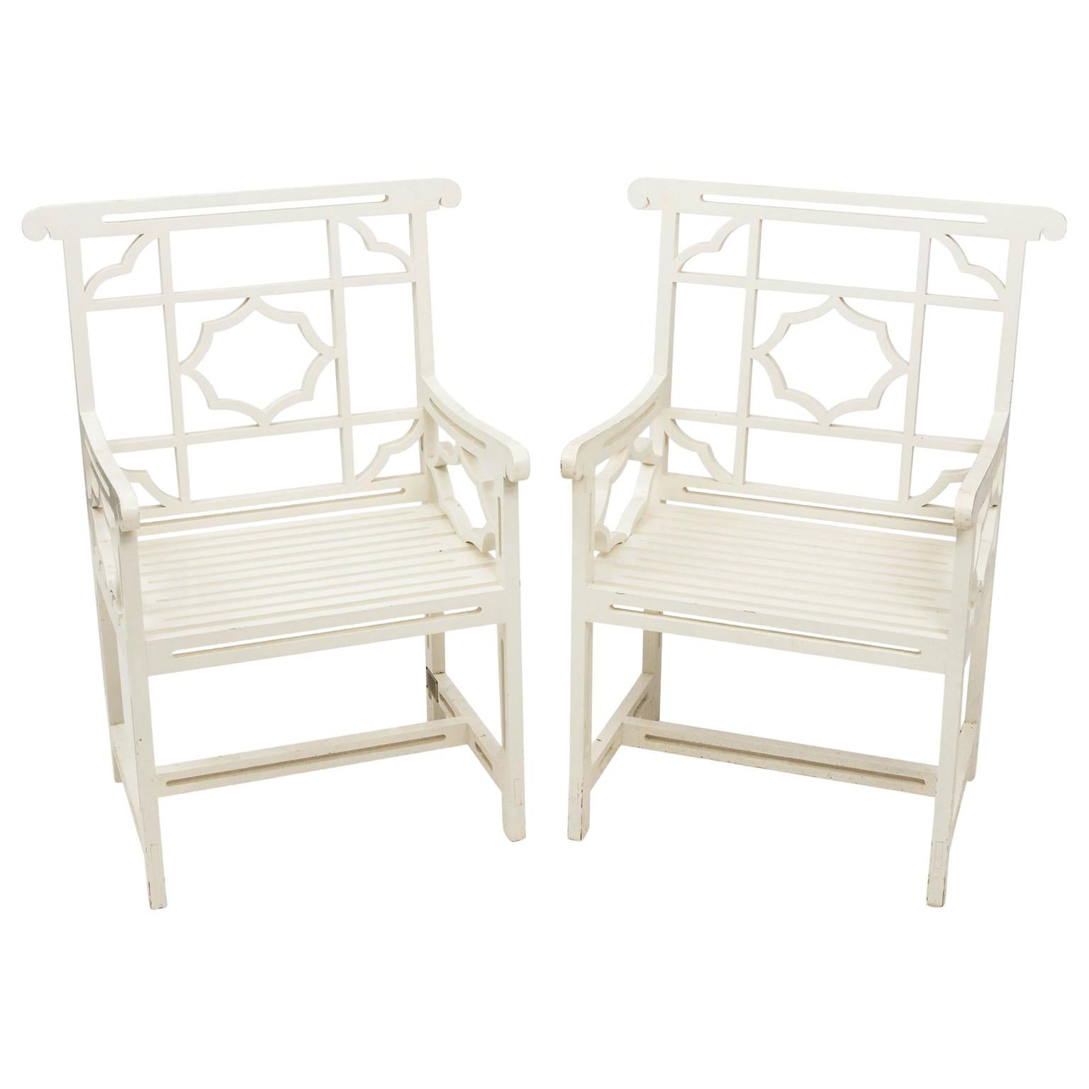 Pair Of Chatsworth Estate Painted Chairs For Sale