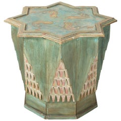 Octagonal Painted Folk Art Table
