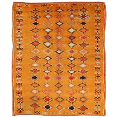 Saffron Colored Antique Moroccan Carpet with Geometric and Diamond Pattern