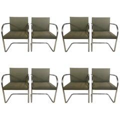 Set of Eight Chrome Brno Chairs, Gordon International Tubular Chrome Chairs
