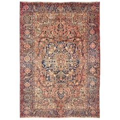Semi Antique Persian Heriz Rug with Geometric Medallion in Salmon and Royal Blue